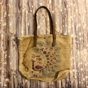 Lucky Brand yah woven tote bag peacock purse